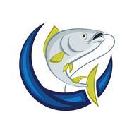 Catching Fish Emblem - stock illustration