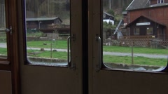 Kirnitzschtal valley seen through doors of a moving tram (30 km/h) Stock Footage