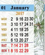 Calendar for January 2017 with winter pines Stock Illustration