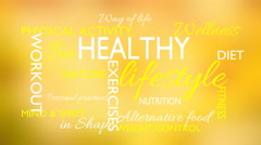 Healthy lifestyle word tag cloud animation, yellow background Stock Footage