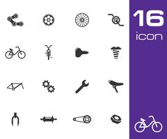 Vector black bicycle part icons set - stock illustration