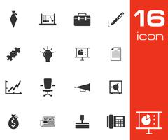 Vector black business icons set - stock illustration