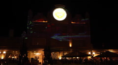 Light Projections On The Facade Of Building. Mapping show, fast Stock Footage