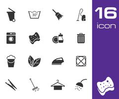 Vector black cleaning icons set Stock Illustration