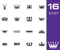 Vector black  crown  icons set - stock illustration