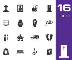 Vector black funeral icons set Piirros