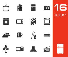 Vector black home appliances icon set Stock Illustration