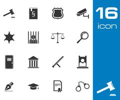 Vector black justice icons set Stock Illustration