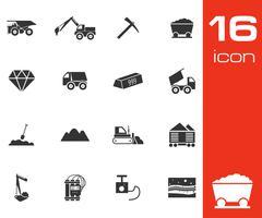 Vector black mining icons set - stock illustration