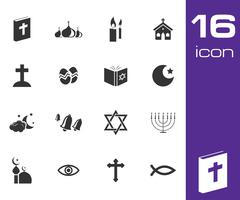 Vector black religion icons set Stock Illustration