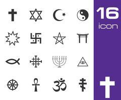Vector black religious symbols set - stock illustration