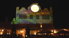 Light Projections On The Facade Of Building. Mapping show Stock Footage