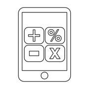 smartphone calculator math icon - stock illustration