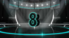 10 seconds countdown on black cyan background with green screen - stock footage