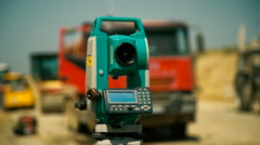 Construction of Highways . Theodolit Close up View Stock Footage