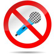 Icon ban microphone - stock illustration