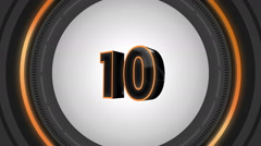 10 seconds countdown surrounded by black round frame - stock footage