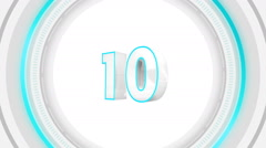10 seconds countdown surrounded by white round frame - stock footage