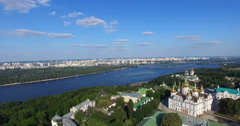 Monastery Church of the Kiev-Pechersk Lavra on the Dnieper river in Kiev Stock Footage