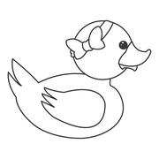 Toy rubber duck with bow icon Stock Illustration