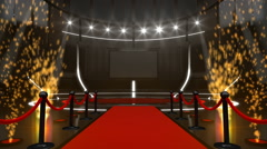 Red carpet and presentation stage with fireworks and green screen - stock footage