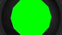 Multiple animations of a black camera shutter opening and closing w green screen Stock Footage