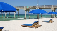 Beach Umbrellas On The Florida Gulf Coast Stock Footage