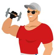 Man with fitness outfit icon silhouette Stock Illustration