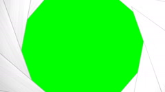 Multiple animations of a white camera shutter opening and closing w green screen Stock Footage