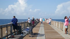 Fishing On A Florida Gulf Coast Fishing Pier - Editorial Stock Footage
