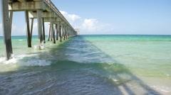 Florida Gulf Coast Fishing Pier Stock Footage