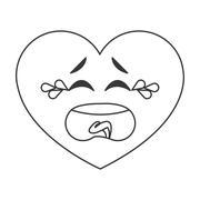 crying heart cartoon icon - stock illustration