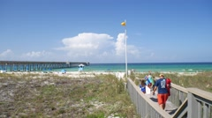 Family Headed To The Beach In Florida Stock Footage
