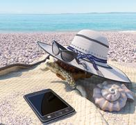 Relaxing vacation concept background with seashell, turtle and beach accessories Stock Illustration