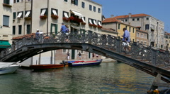 Venice - Jewish Ghetto - The iron bridge on the canal Stock Footage