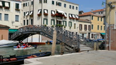 Venice - Jewish Ghetto - The iron bridge on the Rio della Misericordia Stock Footage