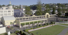 Aerial of soundshell at Marine Parade, Napier, New Zealand Stock Footage