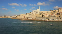 Aerial View, Flying Over Old Jaffa Port, Tel-Aviv Skyline and the Sea - stock footage