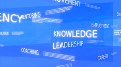 Coaching, development, training word tag cloud - blue variant - stock footage