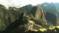 Slow pan right of machu picchu in peru Stock Footage