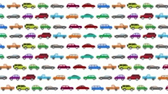 Lots of Cartoon Vector Cars Driving in Rush Hour on a White Background Stock Footage