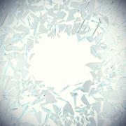 Abstract broken glass into pieces isolated on white background with place for Piirros