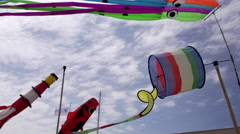 Kites Streamers In Wind - 0038 Stock Footage