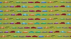 Lots of Cartoon Vector Cars Driving in Rush Hour Stock Footage