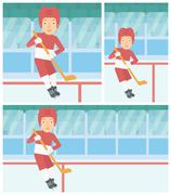 Ice hockey player with stick vector illustration - stock illustration