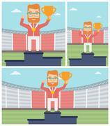 Sportsman celebrating on the winners podium - stock illustration