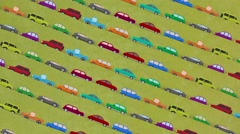 Lots of Cartoon Vector Cars Driving Up and Down in Rush Hour Stock Footage