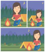 Woman kindling campfire vector illustration Stock Illustration