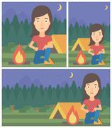 Woman kindling campfire vector illustration - stock illustration