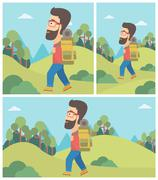 Man with backpack hiking vector illustration Stock Illustration